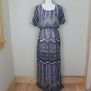 Tribal Maxi Dress Lightweight Dolman Sleeve